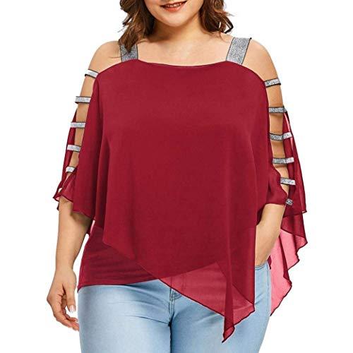Blouse Sangle Mode Tops Mousseline Shirt Unique Grande Rouge Elgante Taille breal Casual Et Femme sans Haut Irrgulier Asymtrique Bretelles 0Eqw084