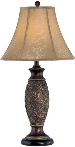 Lite Source C41162 Gentry Table Lamp, Dark Bronze with Jacquard Fabric (150w 3 Way Table Lamp)