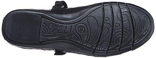 Clarks Tanz Roxy Baby Mädchen Schule Schuh in schwarz Black Leather 7½ F