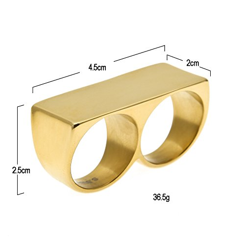 HongBoom Hot Hip Hop Rings 18K Gold Silver Plated CZ CRYSTAL Fully Iced-Out CUBAN Deck Ring (Gold) by HongBoom (Image #2)