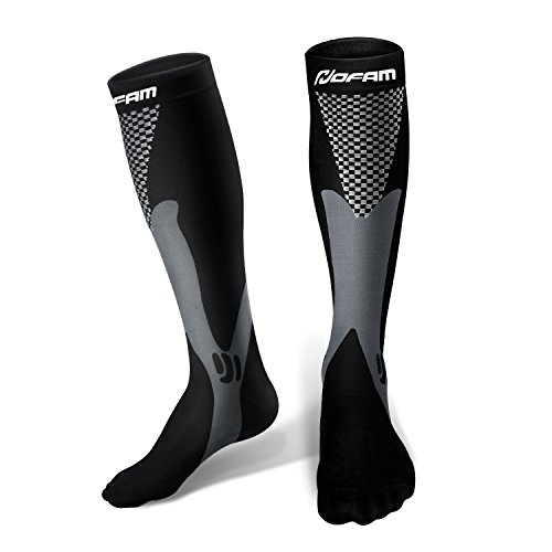 HOFAM Compression Socks For Men And Women Graduated Athletic Sport For Running, Biking, Hockey, Baseball, Flight Travel, Nurse (Cross Training Womens Socks)