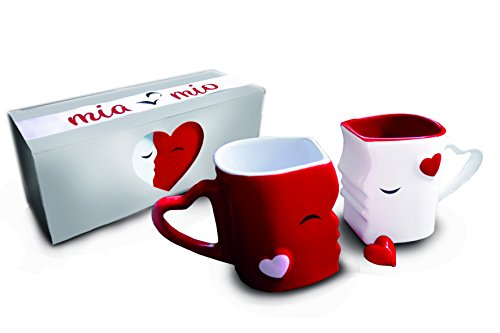 Mia ♥ Mio - Coffee Mugs/Kissing Mugs Bridal Pair Gift Set for Weddings/Birthday/Anniversary with Gift Box (Red)