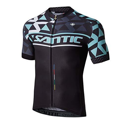 Santic Men Cycling Jerseys Short Sleeve Bike Shirts Full Zip Bicycle Jacket with Pockets Black L