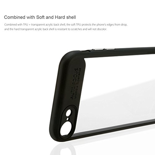"Schutzhülle iPhone 7 Hülle , iPhone 7 Schutzfolie , Leathlux Acryl Kratzfeste Ultra Slim Weiche Silikon PC Bumper Case Handyhuelle Transparent Cover Und Screen Protector Für iPhone 7 4.7"" (Schwarz)"