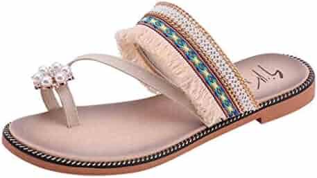 99f0f4323 FORUU Women Solid Crystal National Style Tassels Sandals Slipper Beach Shoes