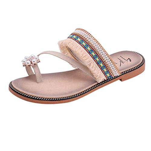 FORUU Women Solid Crystal National Style Tassels Sandals Slipper Beach Shoes Beige (Sell Nike Jordan Shoes)