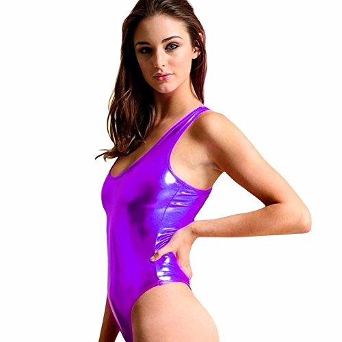 Costume Zenon (iEFiEL Womens Metallic One Piece Bodysuit Swim Leotard Dance Blouse Top Purple One)