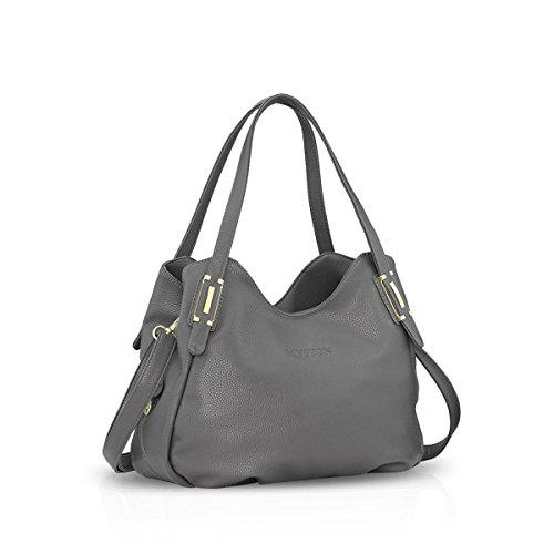 Nicole&Doris Women Tote Handbags Shoulder Bag Crossbody Bag Hobo Satchel Purse PU Leather Black Gray