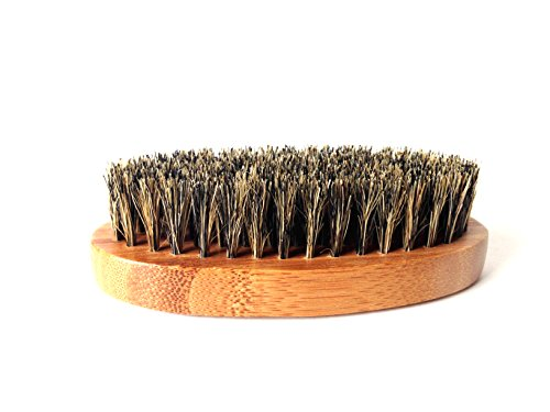 Hard Brush (100% Boar Hair Bristle Beard Brush: Military Round Bamboo for Men Brush Strokes. Great to Use with Facial Hair Beard Oil, Balm and Conditioners, Use with Dry or Wet Beards)