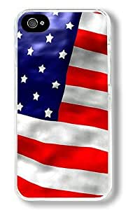 American Flag Custom iPhone 4S Case Back Cover, Snap-on Shell Case Polycarbonate PC Plastic Hard Case Transparent