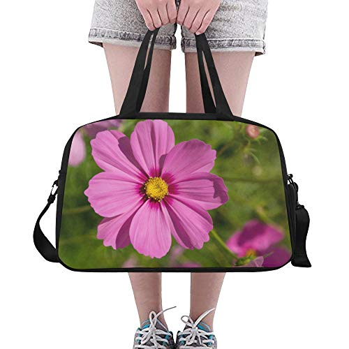 Pink Cosmos Flowers Large Yoga Gym Totes Fitness Handbags Travel Duffel Bags Shoulder Strap Shoe Pouch For Exercise Sport Luggage For Girl Men Womens Outdoor ()