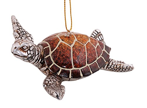 Coastal-Sea-Turtle-Swimming-Resin-Christmas-Holiday-Ornament