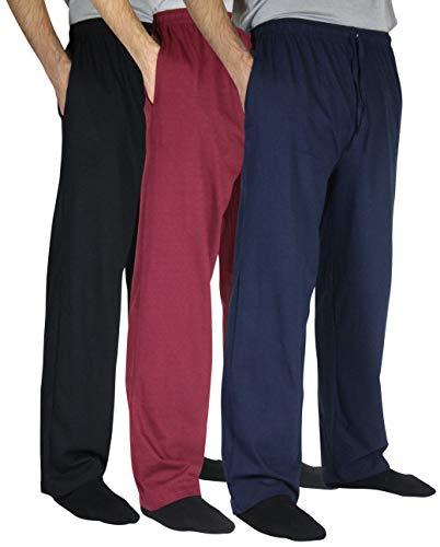 Real Essentials 3 Pack:Men's Cotton Jersey Knit Sleep Pants Lounge Wear Pajamas PJ-Set ()
