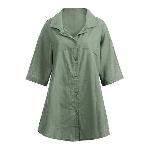 vert Luk 10 Cn Zhrui avec manches Blouse Chemise couleur armée unie taille couleur Vert supérieur de demi bouton à Casual qSFqBOxg
