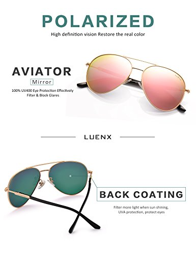 91bdc3dfec View seller other 67589 Products. Womens Sunglasses Aviator Polarized Pink  Mirror by LUENX - UV 400 Protection Gold Frame 60mm