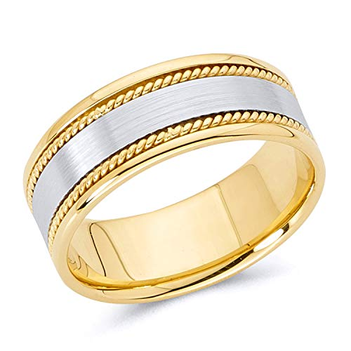 Mens Rope Design Wedding Band - Wellingsale 14k Two 2 Tone White and Yellow Gold Polished Satin 8MM Rope Design Comfort Fit Wedding Band Ring - Size 12