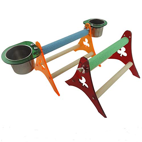 Bird Toys - Acrylic Wood Parrots Desktop Stand Climb Bird Toys Training With Cups Random Color Shipping - Sale That Macaw Trapeze Budgie Hammock Nest Stairs Parakeets Chew Mirror Conures Swings