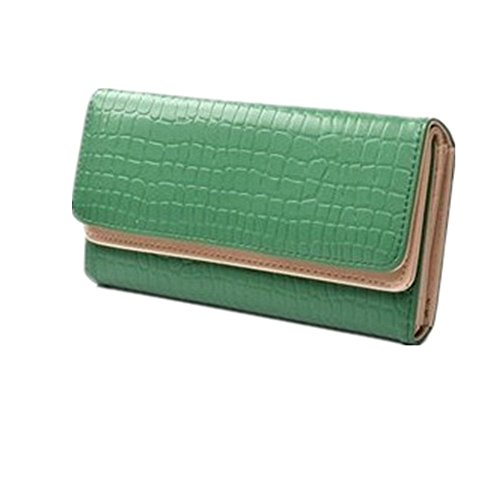 KLOUD City Green Synthetic Leather Stone Pattern Double Layer Women Wallet