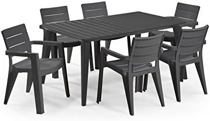 Keter - Set de mobiliario de jardín Lima/Ibiza (mesa + 6 sillas), color grafito: Amazon.es: Jardín