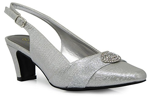 Enzo Romeo cambria02 Women's Wide Width Sling Back Low Heeled Pointy Pumps Sandals Shoes (9 Wide US, Silver)
