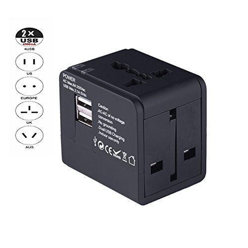 Worldwide Fast Charger (International Travel Wall Charger Power Adapter Universal Adapter/ Worldwide AC Socket with Fast Dual USB Port for Iphone x/8 / 7 / 6 / 5)
