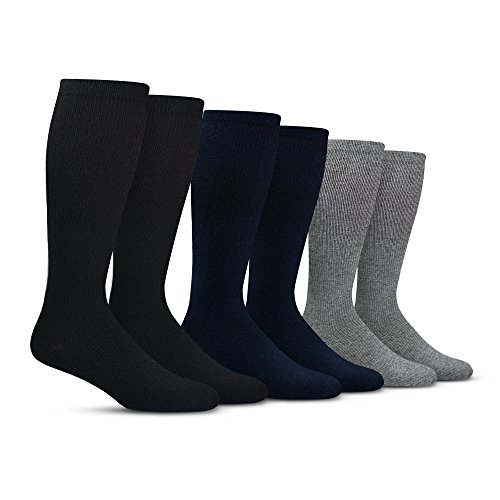 Mens Compression Socks (6-Pack)  L/XL  Black, Gray, Navy - Graduated Muscle Support, Relief and Recovery. Great for Running, Medical, Athletic, Diabetic, Travel, Nursing (8-15 mmHg)