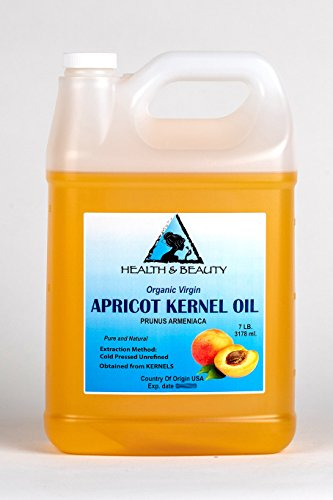 Apricot Kernel Oil Unrefined Organic Virgin Cold Pressed Raw Pure 128 oz, 7 LB, 1 gal