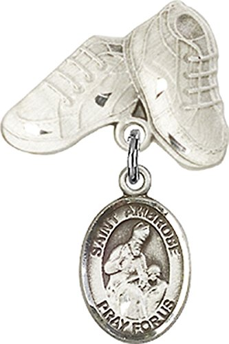 Sterling Silver Baby Badge Baby Boots Pin with Saint Ambrose Charm, 3/4 Inch