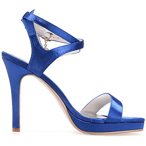 LOSLANDIFEN Womens Elegant Open Toe Satin Ankle Straps High Heels Bridal Court Shoes Blue-b pguBx