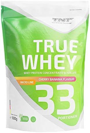 True Whey – 1kg Whey Protein Isolate Pulver – Eiweißpulver aus Molke – Proteinpulver, Eiweiß-Shake (Kirsch-Banane)