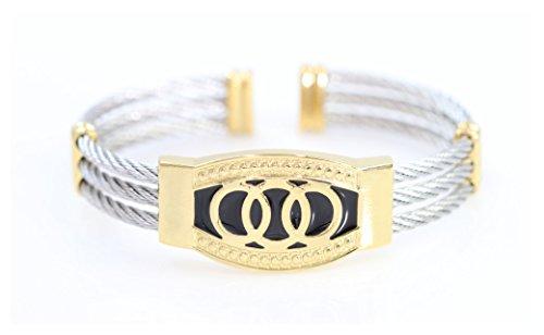 AJ Designer Luxury Cable wire bracelet (Silver (Mens Designer Bracelet)