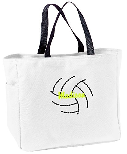 Personalized Embroidered Volleyball Sport Essential Tote Bag (White) ()