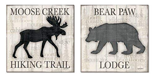 (Rustic Moose Creek Hiking Trail and Bear Paw Lodge' Set, Cabin Lodge Decor, Two 8x10 inches Unframed Canvas Art Printed (Printed on Canvas, Not Wood))