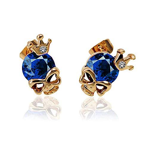 (J Meng Cute Skull Studs Earrings Crown Diamond Head Skeleton Gothic Cool Statement Earrings for Girls (Blue))