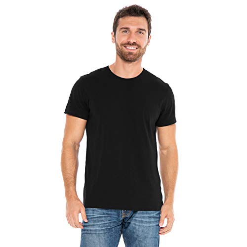 (Men's Designer T-Shirt Lightweight Semi Fit Short Sleeve Crew Neck Organic Cotton Pre-Shrunk Embroidered - Made in USA (Large, Black))