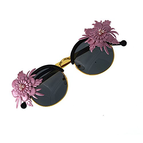 Lunettes Designer de Fleur KOMEISHO Plage UV Simple des Nuances pour Soleil Vacances de Brillants nouveauté de la de Conduire Protection décoration Baroque Rose de EZCqz