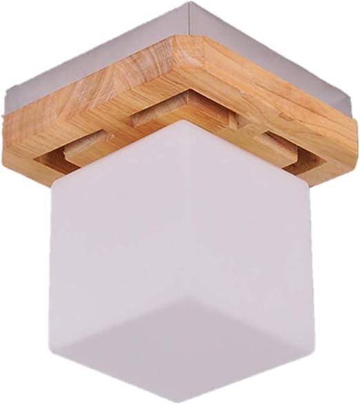zzatt Entrada Lamp E27 Moderna lámpara de techo Square Madera – Pantalla de Cristal Lámpara de techo Pasillos Balcón Ø18 cm: Amazon.es: Iluminación