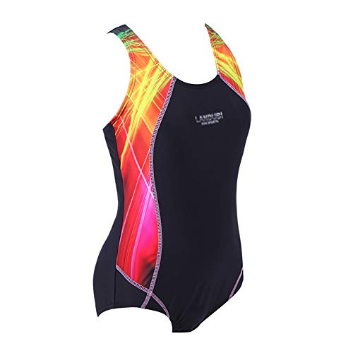 BYLIKE Girl Professional Competitive Racerback Swimsuit One-Piece Athletic Bathing Suit (152(10-12 Years Old), Black)