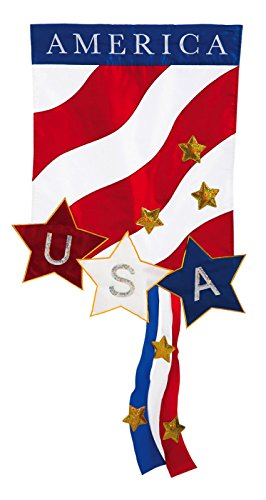 Evergreen Applique Patriotic America Garden Flag, 12.5 by 18 inches