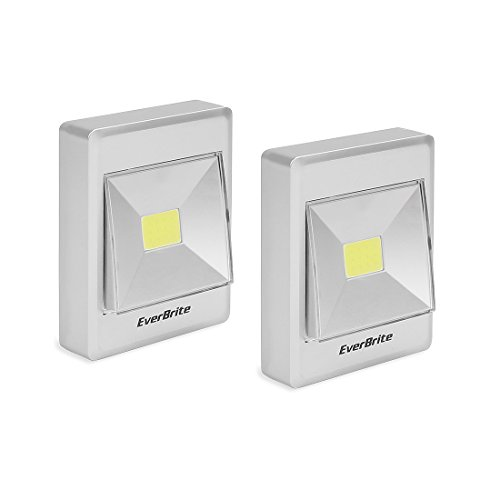 EverBrite Night Lights Battery Operated with Switch, COB Cordless Emergency Lights, Magnetic, Sticker for Wardrobe,Camping,Kitchen,Garage,Attic,Night Reading and More (2-Pack)