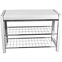 Danya B. HA16832 White Leatherette Entryway Shoe Storage/Organizer Rack and Bench with Chrome Frame