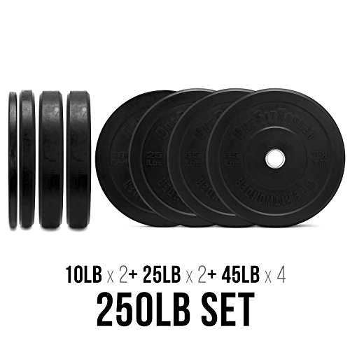 250 LBS Bumper Plates Set / Olympic Weight Plate for Weightlifting Training / Pair of 10 / 25 / 45 / 45lbs Plates by OneFitWonder