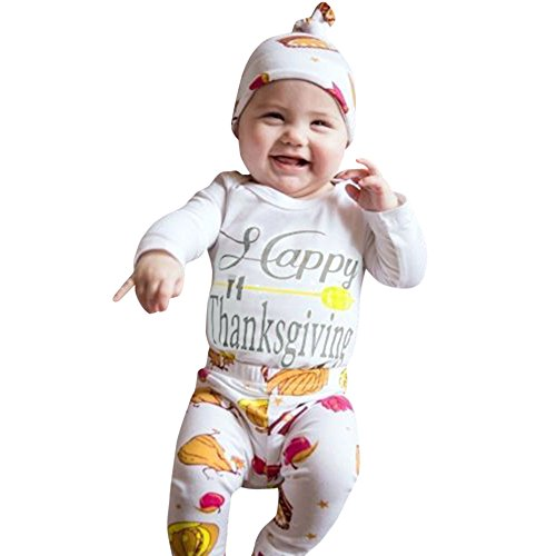 (Baby Happy Thanksgiving Halloween Christmas Outfit Romper+Pumkin Pant+Hat)