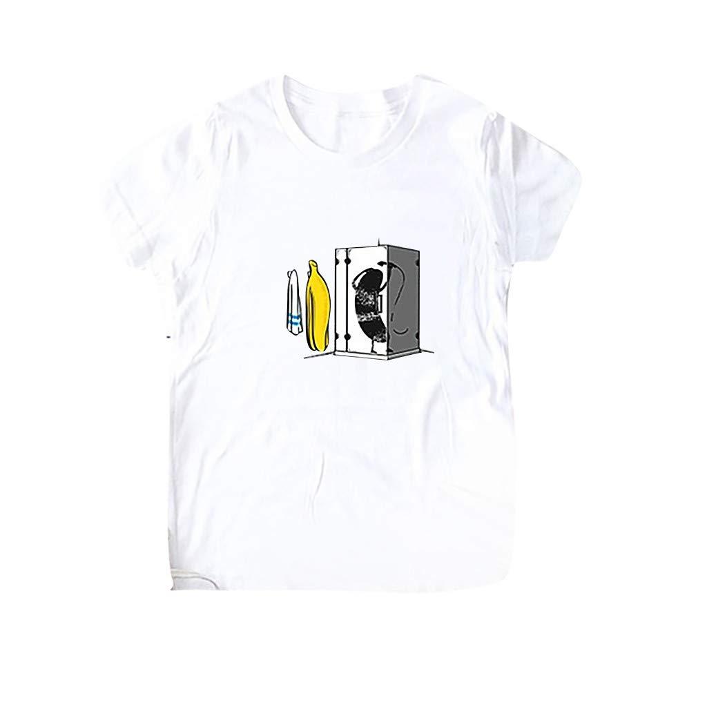 Jiayit Multicolor Womens T-Shirt O-Neck Letter Cartoon Printing Short Sleeve Blouse Loose Casual Shirt Comfortable Tops