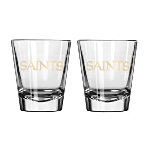 NFL Football Team Logo Satin Etch 2 oz. Shot Glasses | Collectible Shooter Glasses - Set of 2 (Saints)