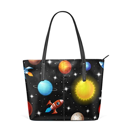 Rocket Women Printing Handbag Leather Space Tote for Bennigiry Pu Shoulder SqxURg1w5