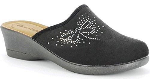Inblu pantofole ciabatte invernali da donna art. KL-64 NERO