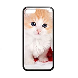 XiFu*MeiCute Cat In Santa Hat Black Phone Case for Iphone 5CXiFu*Mei