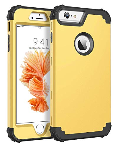 (BENTOBEN Case for iPhone 6S Plus/iPhone 6 Plus, 3 in 1 Heavy Duty Rugged Hybrid Hard PC Soft Silicone Bumper Shockproof Anti Slip Protective Case for Apple iPhone 6S Plus/6 Plus (5.5 Inch), Yellow)