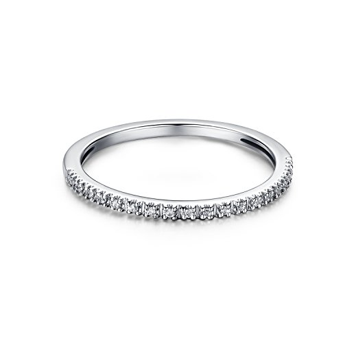 1.5mm White Gold Plated Sterling Silver Riviera Petite Micropave Cubic Zirconia CZ Half Eternity Ring (8) by Hafeez Center